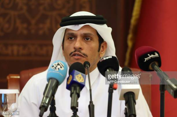 Qatari Foreign Minister Sheikh Mohammed bin Abdulrahman AlThani attends a joint press conference with his Russian counterpart in Doha on August 30...