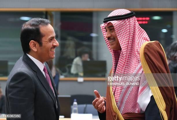Qatari Foreign Minister Sheikh Mohammed bin Abdulrahman al-Thani and Kuwait's Foreign Minister Sheikh Sabah Khaled al-Sabah attend the third Brussels...