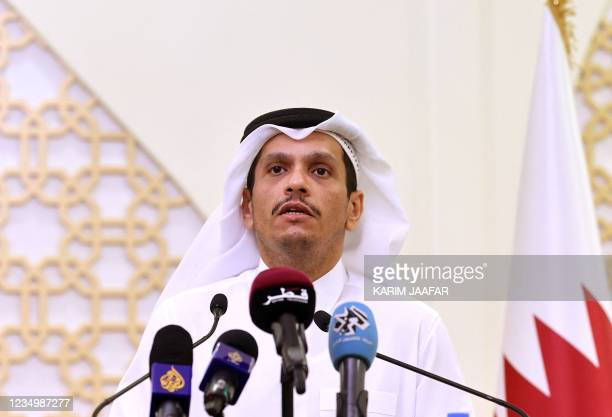 Qatari Foreign Minister Sheikh Mohammed bin Abdulrahman al-Thani gives a press conference with his Dutch counterpart on September 1, 2021 in Doha. -...