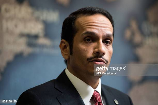 Qatari Foreign Minister Sheikh Mohammed bin Abdulrahman AlThani looks on during a Chatham House think tank in London on July 5 2017 Qatar's foreign...