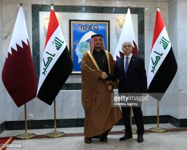 Qatari Foreign Minister Sheikh Mohammed bin Abdulrahman bin Jassim Al Thani meets with Iraqi Foreign Minister Mohamed Ali Alhakim as part of his...