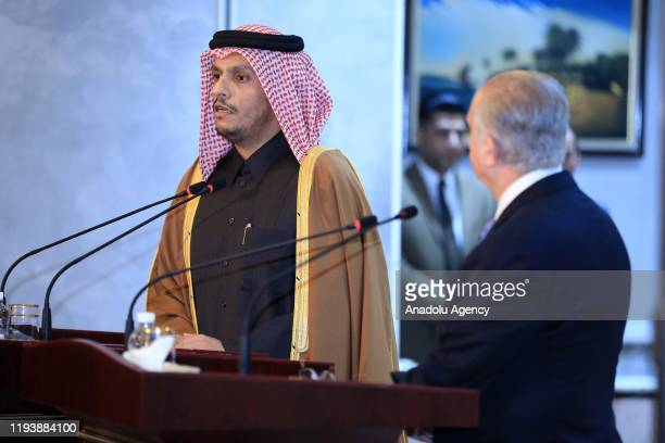 Qatari Foreign Minister Sheikh Mohammed bin Abdulrahman bin Jassim Al Thani makes a speech during the joint press conference with Iraqi Foreign...