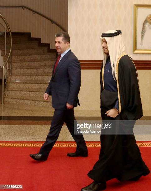 Qatari Foreign Minister Sheikh Mohammed bin Abdulrahman bin Jassim Al Thani meets Prime Minister of Kurdish Regional Government Masrour Barzani in...