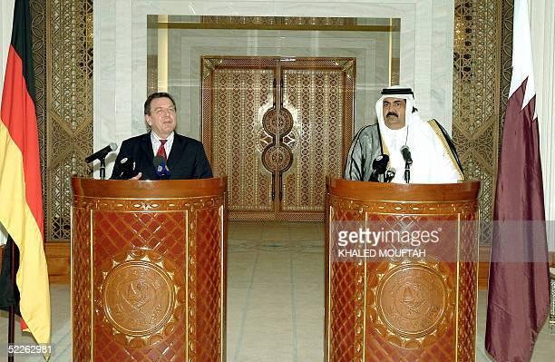 Qatari leader Sheikh Hamad bin Khalifa alThani and German Chancellor Gerhard Schroeder give a press conference in Doha 01 March 2005 Schroeder on a...