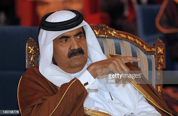 Qatari leader Sheikh Hamad bin Khalifa al-Thani attends the opening session of the Connect Arab Summit in Doha on March 6, 2012. The Summit is...