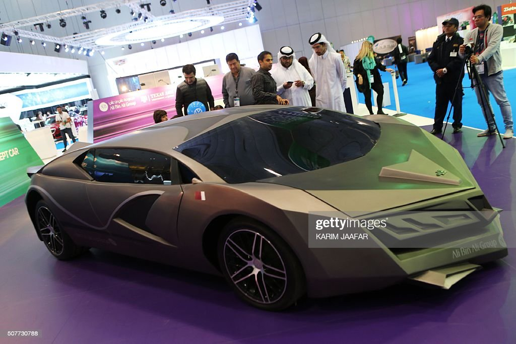 A Qatari made concept car is displayed during the Qatar Motor Show ...