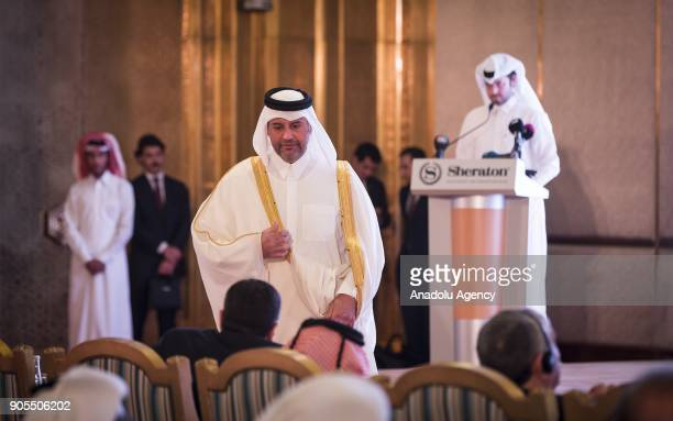 Qatari Minister of Economy and Commerce Sheikh Ahmed Bin Jassim alThani is seen after delivering a speech during the TurkeyQatar Business Forum in...