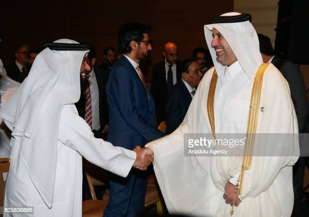 Qatari Minister of Economy and Commerce Sheikh Ahmed Bin Jassim alThani welcomes officials ahead of the Turkey Qatar B2B Meeting with Turkish Economy...