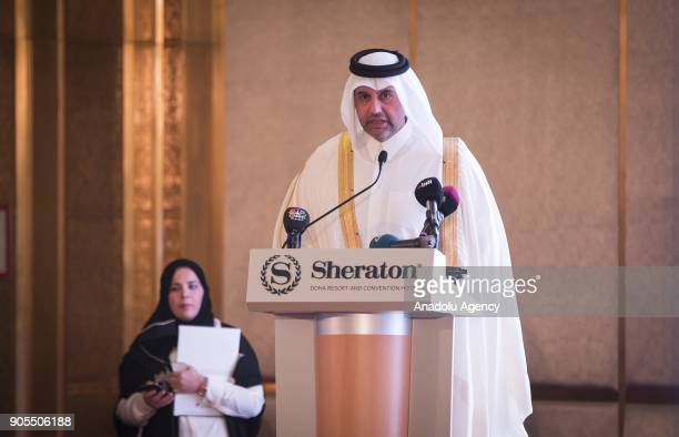 Qatari Minister of Economy and Commerce Sheikh Ahmed Bin Jassim alThani speaks during the TurkeyQatar Business Forum in cooperation with Turkish...