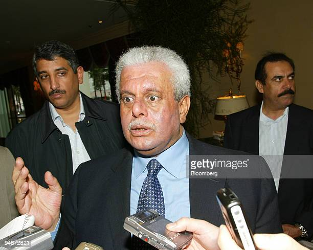 Qatari Oil Minister Abdullah Bin Hamad alAttiyah speaks with the press upon his arrival in Vienna Austria for the annual meeting of the Organization...