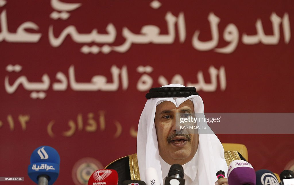 Qatari Prime Minister and Foreign Minister Sheikh Hamad bin Jassem al-Thani gives a press confrece during the Arab League summit in the Qatari capital, Doha, on March 26, 2013.
