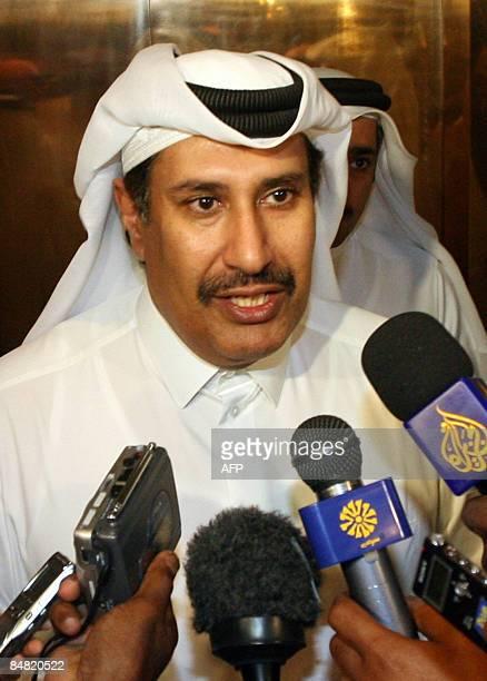 Qatari Prime Minister Sheikh Hamad bin Jassem alThani talks to the media following the latest meeting between representatives of the Sudanese...