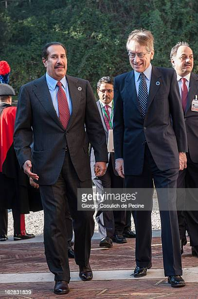 Qatari Prime Minister Sheikh Hamad bin Jassim alThani and Italian Foreign Minister Giulio Terzi arrive to attend a meeting of the 'Friends of the...