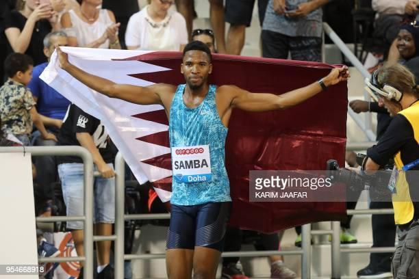 Qatar's Abderrahman Samba celebrates after winning the 400 metres hurdles during the Diamond League athletics competition at the Suhaim bin Hamad...