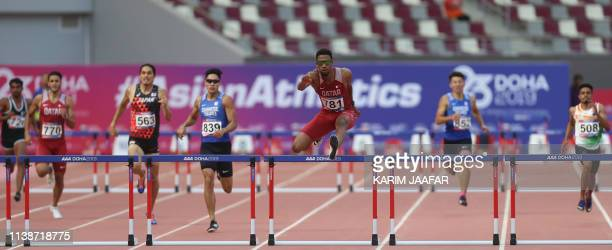 Qatar's Abderrahman Samba competes in the final of the 400m Hurdles men during the second day of the 23rd Asian Athletics Championships at Khalifa...