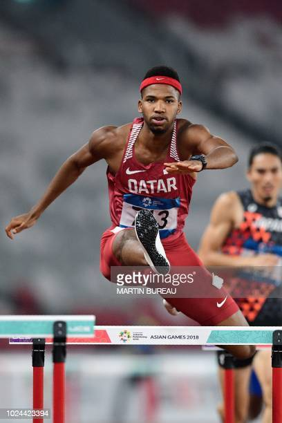 Qatar's Abderrahman Samba competes in the final of the men's 400m hurdles athletics event during the 2018 Asian Games in Jakarta on August 27 2018