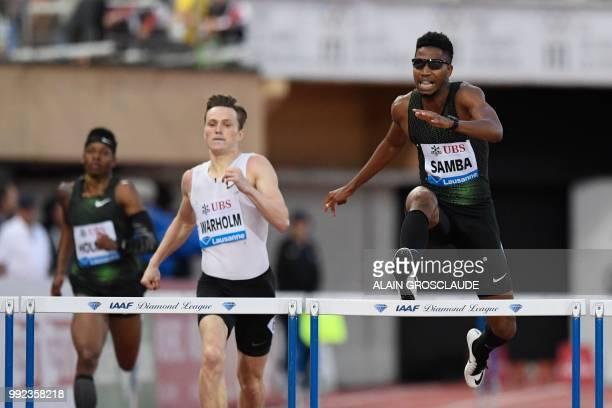 Qatar's Abderrahman Samba competes to win ahead of Norway's Karsten Warholm the Men's 400m hurdles during the IAAF Diamond League athletics meeting...