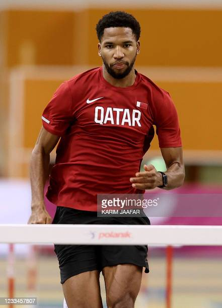 Qatar's Abderrahman Samba is pictured during a training session at the Aspire Academy in Doha, on June 3, 2021. - Samba was thrown an Olympic...