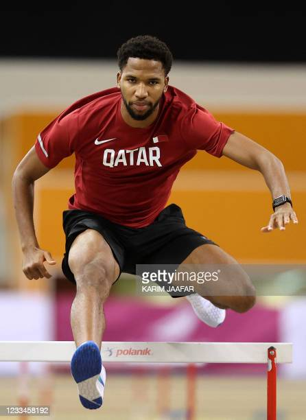 Qatar's Abderrahman Samba trains during a session at the Aspire Academy in Doha, on June 3, 2021. - Samba was thrown an Olympic lifeline when the...