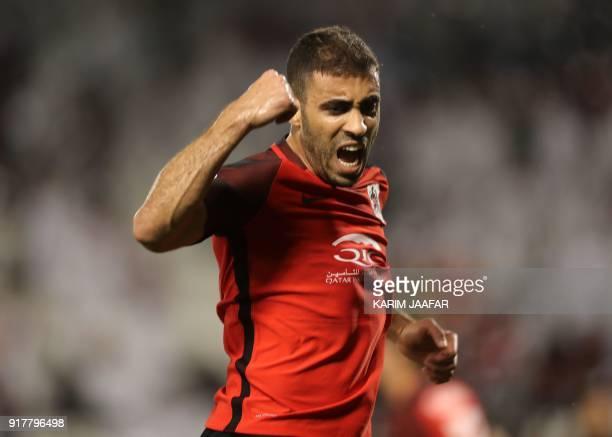 Qatar's AlRayyan SC's Moroccan forward Abderrazak Hamdallah celebrates after scoring a goal against Iran's Esteghlal FC during their Asian Champions...