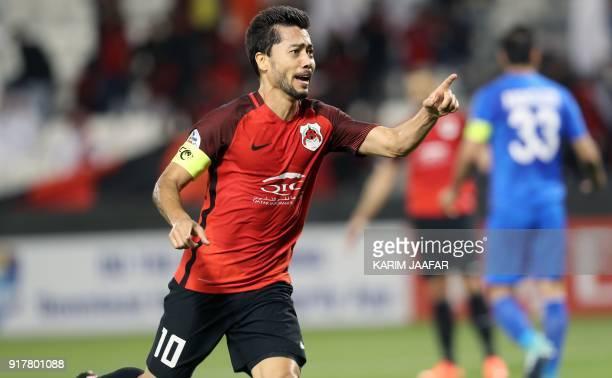 Qatar's AlRayyan SC's QatariBrazilian midfielder and captain Rodrigo Tabata celebrates after scoring a goal against Iran's Esteghlal FC during their...