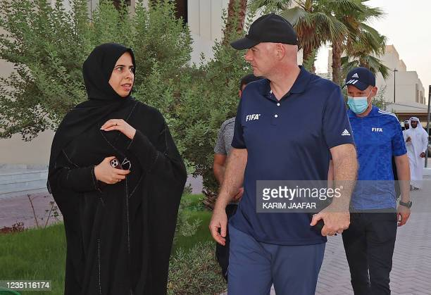 Qatars assistant Foreign Minister Lolwah al-Khater and FIFA President Gianni Infantino visit the Park View Villas, a Qatar's 2022 FIFA World Cup...