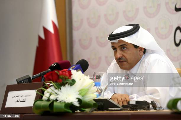 Qatar's Attorney General Ali bin Fetais alMarri speaks after the launch of the Compensation Claims Committee during a press conference in Doha on...