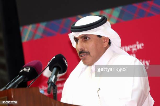 Qatar's Central Bank governor Sheikh Abdullah Saud alThani gives a lecture at Carnegir Mellon University in the capital Doha on January 16 2018 / AFP...