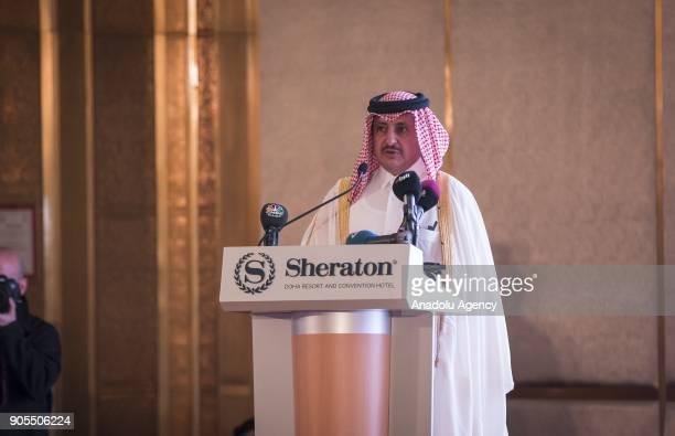Qatar's Chamber of Commerce chairman Sheikh Khalifa bin Jassim bin Mohamed alThani delivers a speech during the TurkeyQatar Business Forum in...