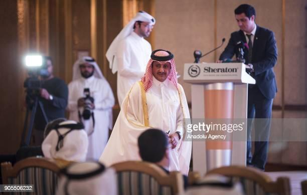 Qatar's Chamber of Commerce chairman Sheikh Khalifa bin Jassim bin Mohamed alThani is seen after delivering a speech during the TurkeyQatar Business...