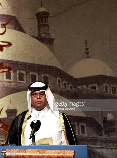 Qatar's Deputy Premier and Energy Minister Abdullah bin Hamad alAttiyah addresses the opening session of the USIslamic World Forum in Doha on...