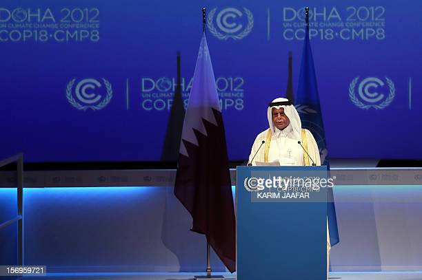Qatar's deputy Prime minister and 18th Conference of the Parties president Abdullah bin Hamad AlAttiyah delivers a speech during the opening ceremony...