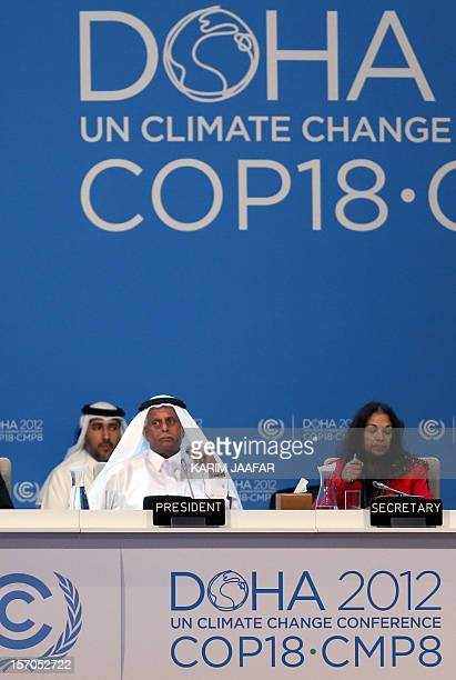 Qatar's deputy Prime minister and 18th Conference of the Parties president Abdullah bin Hamad AlAttiyah attends the third day of the two weeks United...