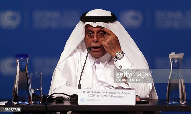 Qatar's Deputy Prime Minister and president of the 18th United Nations Convention on Climate Change Abdullah bin Hamad AlAttiyah attends a press...