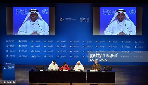Qatar's Deputy Prime Minister and president of the 18th United Nations Convention on Climate Change Abdullah bin Hamad AlAttiyah speaks during a...