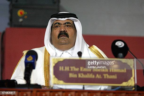 Qatar's Emir Sheikh Hamad bin Khalifa al-Thani gives the opening speech at the 14th International Conference & Exhibition on Liquefied Natural Gas in...