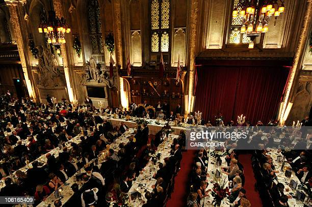 Qatar's Emir, Sheikh Hamad bin Khalifa al-Thani, makes a speech after a banquet held in his honour at the Guildhall in the City of London, England,...