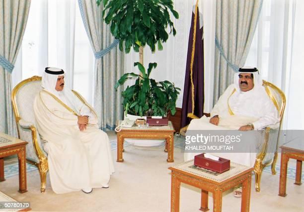 Qatar's Emir Sheikh Hamad bin Khalifa alThani meets with Bahraini King Hamad bin Issa alKhalifa in Doha 28 April 2004 King Hamad is on an official...