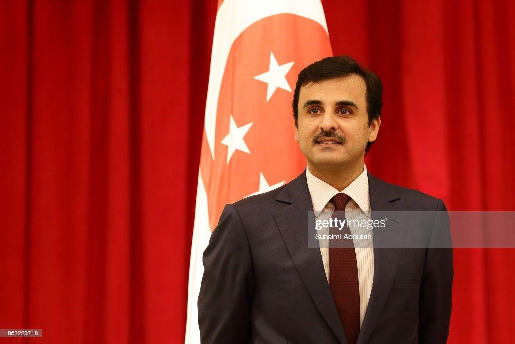 Qatar's Emir Sheikh Tamim bin Hamad al-Thani Visits Singapore : News Photo