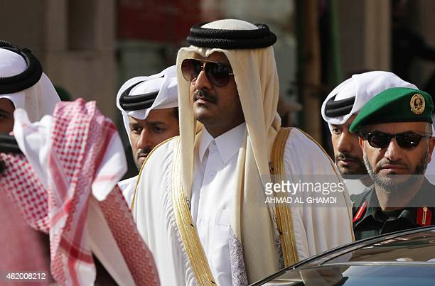 Qatar's Emir Sheikh Tamim bin Hamad alThani attends the funeral of late Saudi King Abdullah bin Abdul Aziz on January 23 2015 in Riyadh Foreign...