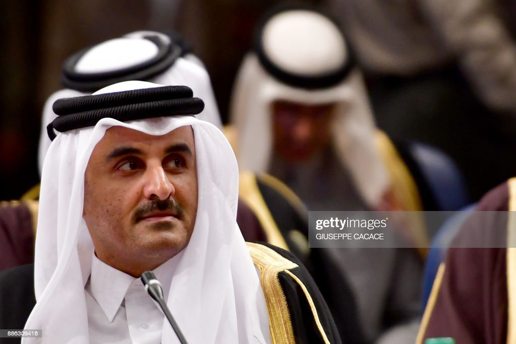 Qatar's Emir Sheikh Tamim bin Hamad Al-Thani attends the Gulf Cooperation Council (GCC) summit at Bayan palace in Kuwait City on December 5, 2017. Giuseppe CACACE / AFP /