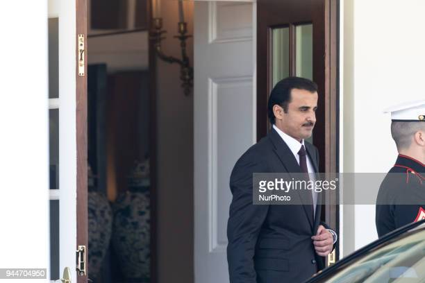 Qatar's Emir Sheikh Tamim bin Hamad alThani leaves the White House after meetings with US President Trump in Washington DC on Tuesday April 10 2018