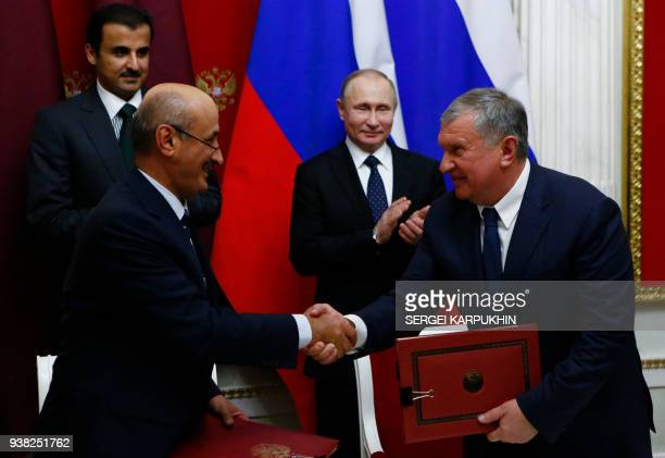 Qatar's Emir Sheikh Tamim bin Hamad alThani Russian President Vladimir Putin President of Research and Development at Qatar Foundation for Education...