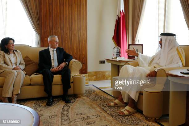 Qatar's Emir Sheikh Tamim Bin Hamad AlThani welcomes US Defense Secretary James Mattis and US Ambassador to Qatar Dana Shell Smith at his residence...