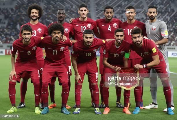 Qatar's footballers Ahmed alSayed Almoez Ali Karim Boudiaf Ali Mukhtar Boualem Khoukhi Saad alSheeb Ali Asadalla Akram Hassan Afif Abdulkareem alAli...