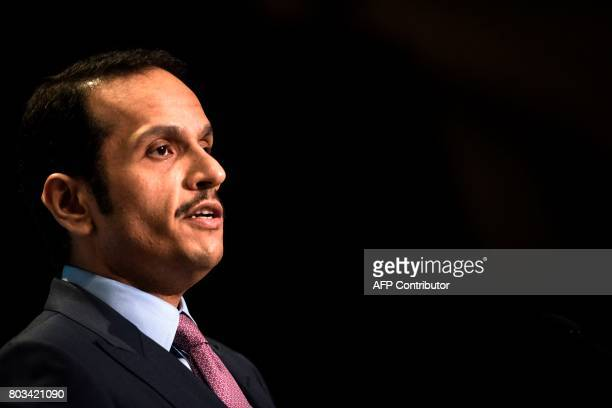Qatar's Foreign Minister Mohammed bin Abdulrahman alThani speaks during a luncheon hosted by the Arab Center of Washington DC on June 29 2017 in...