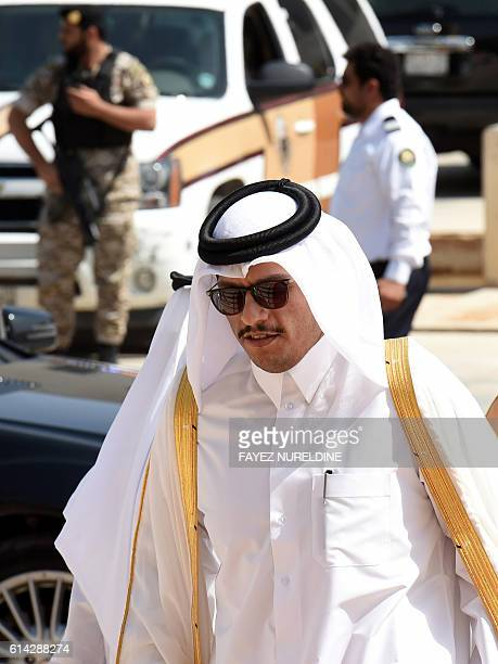 Qatar's Foreign Minister Mohammed bin Abdulrahman bin Jassim alThani arrives for a meeting with foreign ministers of the GCC in the Saudi capital...