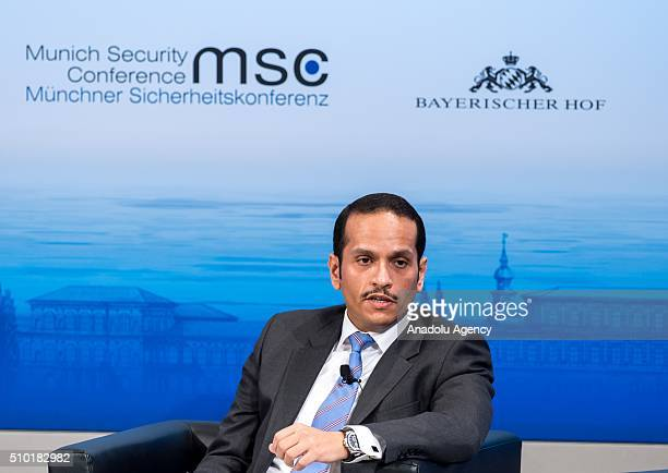 Qatar's Foreign Minister Sheikh Mohammed bin Abdulrahman bin Jassim AlThani speaks at the 2016 Munich Security Conference at the Bayerischer Hof...