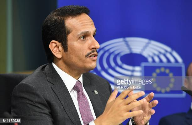 Qatar's Foreign Minister Sheikh Mohammed bin Abdulrahman bin Jassim AlThani addresses a press conference at the European Parlimanent in Brussels on...
