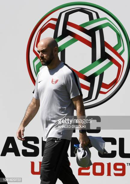 Qatar's head coach Felix Sanchez arrives to attend a photo session at the Zayed Sports City Stadium in Abu Dhabi on January 31, 2019 ahead of their...